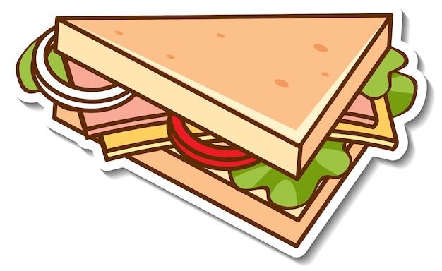 分離されたサンドイッチとステッカーのデザイン