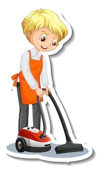 掃除機を使用した若い男性とのステッカーデザイン