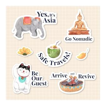 캐릭터 만화 절연 수채화 벡터 일러스트 레이 션에 대 한 아시아 여행 개념 스티커 디자인