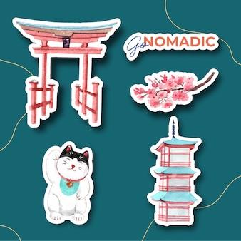 Дизайн наклейки с концепцией путешествия по азии для персонажа из мультфильма, изолированных акварель векторные иллюстрации