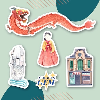 キャラクター漫画分離水彩ベクトルイラストのアジア旅行コンセプトのステッカーデザイン