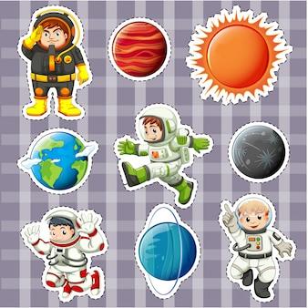 Дизайн наклейки с астронатами и планетами