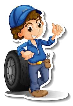 Sticker design with auto mechanic cartoon character