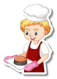 Дизайн стикера с мальчиком-пекарем, держащим противень