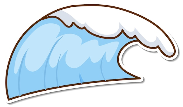 Sticker design with beach water wave isolated