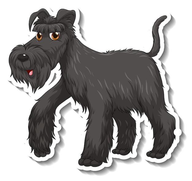 分離された黒いシュナウザー犬とステッカーのデザイン