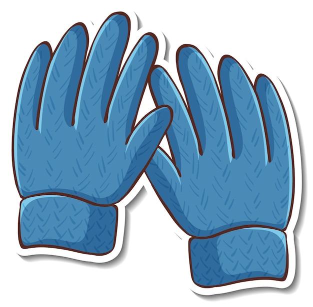 分離された青い手袋とステッカーのデザイン