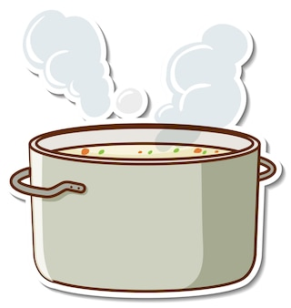 Sticker design with boiled soup in a pot isolated