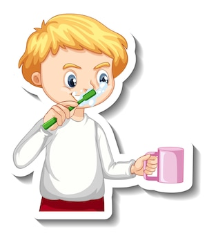 Sticker design with a boy brushing his tooth cartoon character