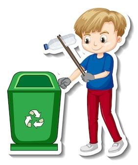 Design adesivo con un ragazzo che raccoglie spazzatura