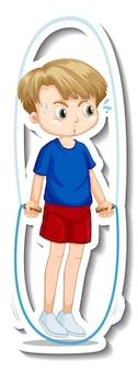 Disegno dell'autoadesivo con un esercizio di salto con la corda del ragazzo isolato