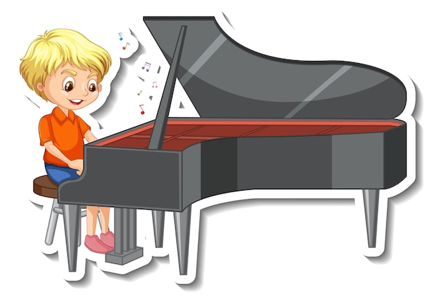 Sticker design with a boy playing piano