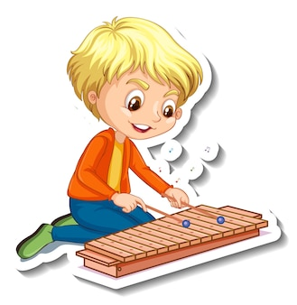 Sticker design with a boy playing xylophone Premium Vector