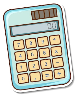 Sticker design with a calculator isolated