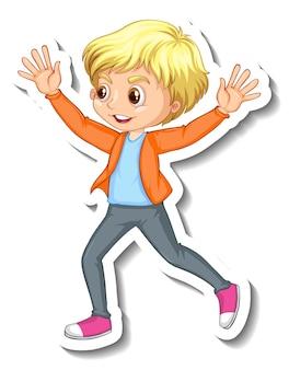 幸せな男の子のキャラクターとステッカーのデザイン