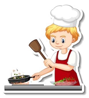 シェフの男の子が食べ物の漫画のキャラクターを調理するステッカーデザイン