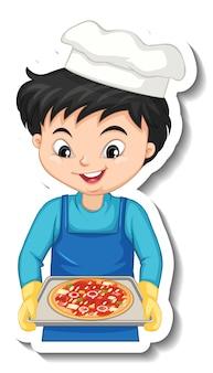 피자 트레이를 들고 요리사 소년과 스티커 디자인