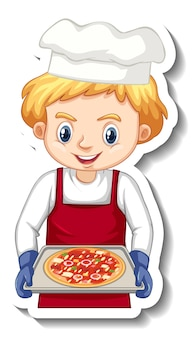 Sticker design with chef boy holding pizza tray