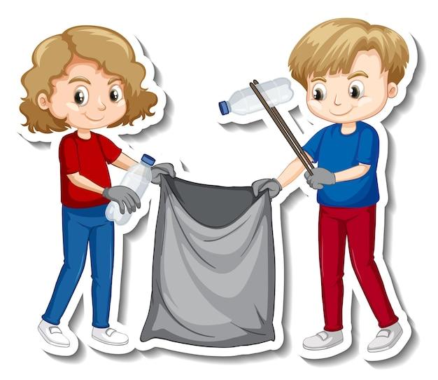 Design adesivo con bambini che raccolgono spazzatura