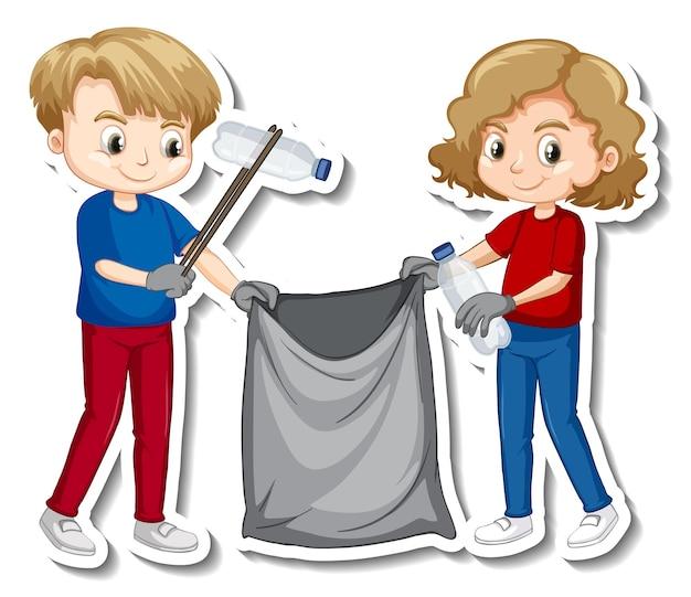 Дизайн стикера с детьми, собирающими мусор