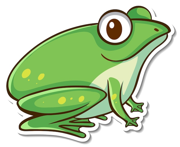 Дизайн стикера с милой зеленой лягушкой изолирован