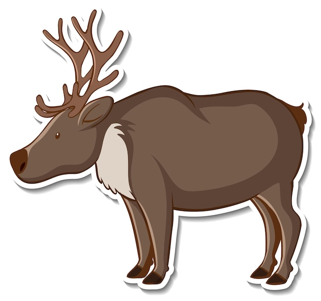 Sticker design with cute moose isolated