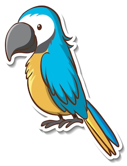 Sticker design with cute parrot isolated