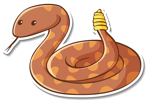 Sticker design with cute rattlesnake isolated