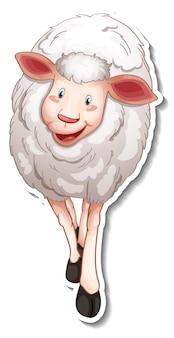 Design adesivo con simpatico personaggio dei cartoni animati di pecore