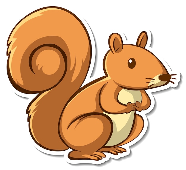 Sticker design with cute squirrel isolated