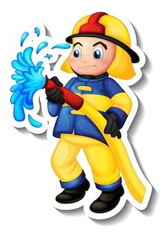 Sticker design with a fireman cartoon character