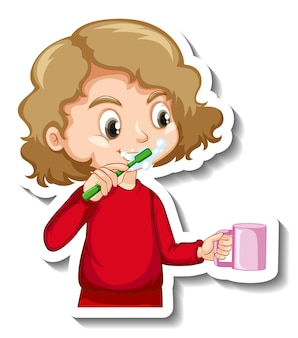 Sticker design with a girl brushing her tooth cartoon character