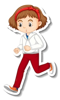 Sticker design with a girl jogging cartoon character