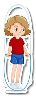 Disegno dell'autoadesivo con un esercizio di salto con la corda della ragazza isolato