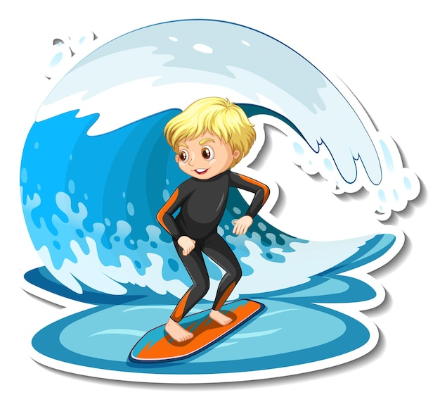 Sticker design with a girl on surfboard isolated