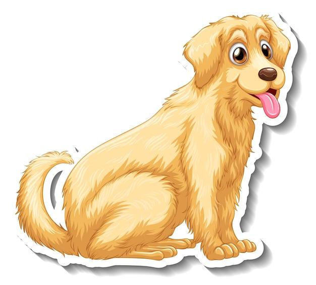 分離されたゴールデンレトリバー犬とステッカーデザイン