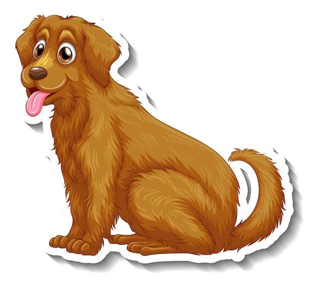 고립 된 골든 리트리버 강아지와 스티커 디자인
