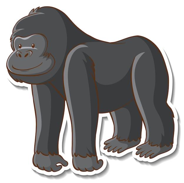 Sticker design with a gorilla isolated