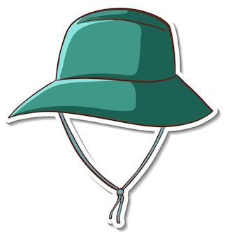 Disegno adesivo con cappello a secchiello verde isolato