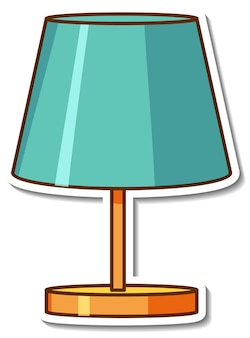 Sticker design with green lamp for living room isolated