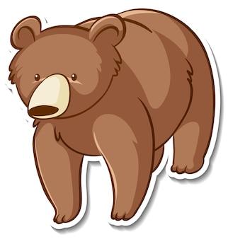 Дизайн наклейки с изолированным медведем гризли