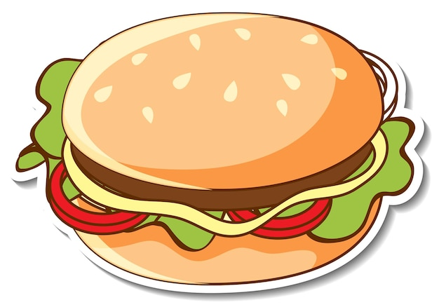 Sticker design with a hamburger isolated