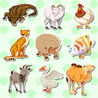 Sticker design with many creatures