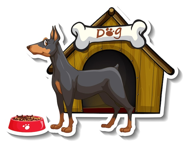 Sticker design with miniature pinscher standing in front of dog house