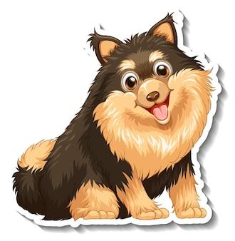 分離されたポメラニアン犬とステッカーのデザイン