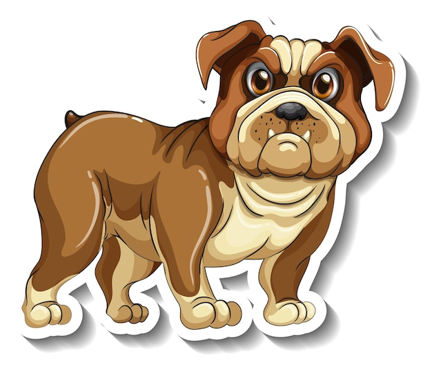 Sticker design with a pug dog isolated