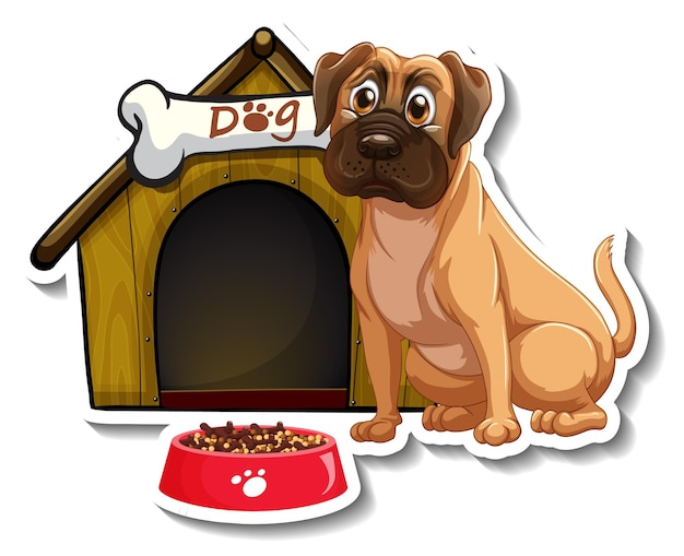 Sticker design with pug standing in front of dog house