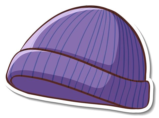 Disegno adesivo con cappello a cuffia viola isolato