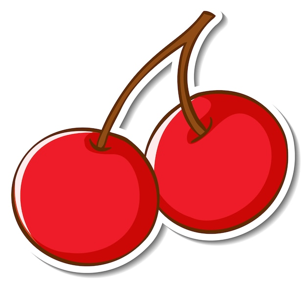 Design adesivo con ciliegia rossa isolata