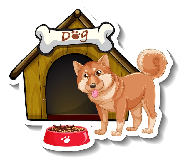 Sticker design with shiba inu standing in front of dog house